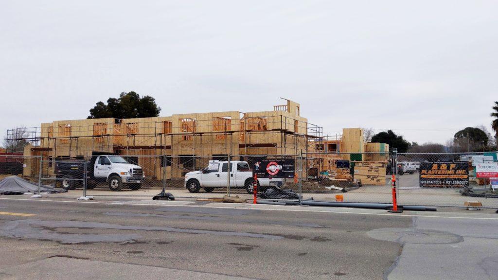 Street view of Sunrise Senior Apartments, currently under construction at the framing stage.
