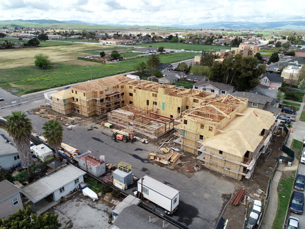 Aerial view of Sunrise Senior Apartments under construction on 4/5/19