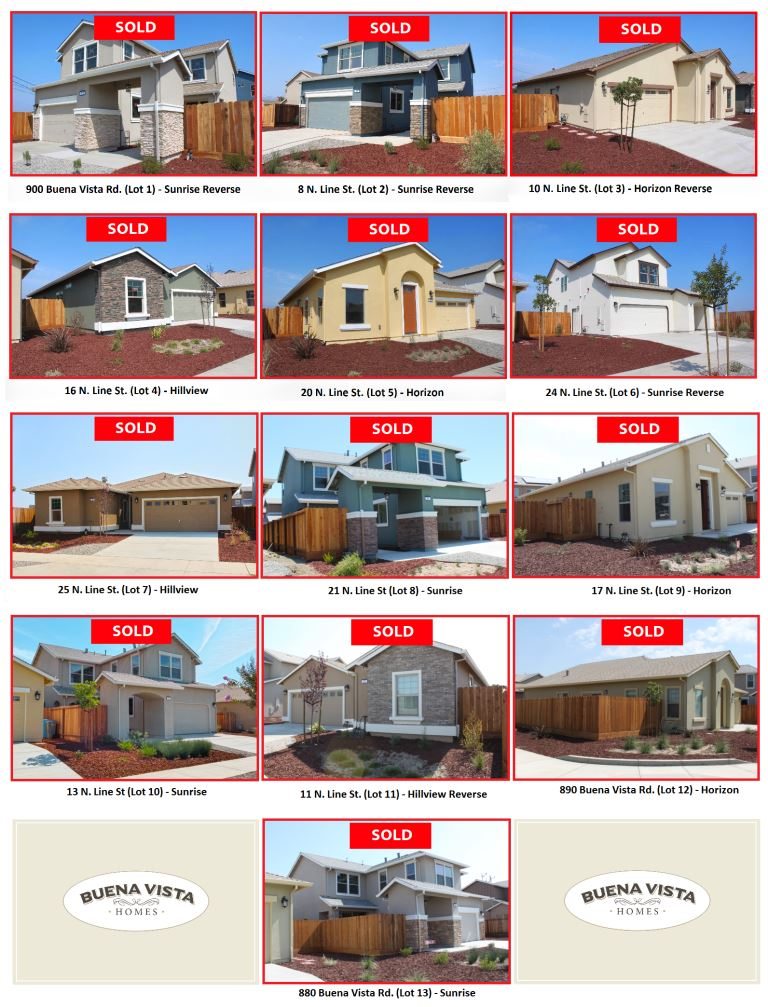 "Images of the homes for sale, each marked ""sold."""